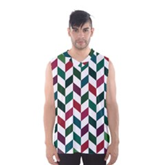 Zigzag Chevron Pattern Green Red Men s Basketball Tank Top