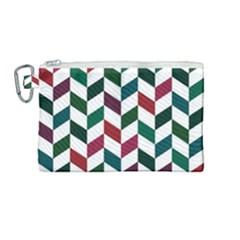 Zigzag Chevron Pattern Green Red Canvas Cosmetic Bag (medium) by snowwhitegirl
