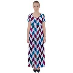 Zigzag Chevron Pattern Blue Brown High Waist Short Sleeve Maxi Dress