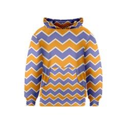 Zigzag Chevron Pattern Blue Orange Kids  Pullover Hoodie
