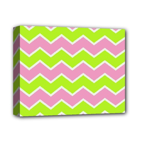 Zigzag Chevron Pattern Green Pink Deluxe Canvas 14  X 11