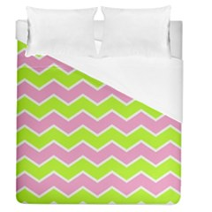 Zigzag Chevron Pattern Green Pink Duvet Cover (queen Size) by snowwhitegirl