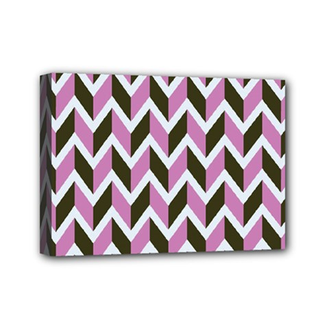 Zigzag Chevron Pattern Pink Brown Mini Canvas 7  X 5  by snowwhitegirl