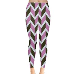 Zigzag Chevron Pattern Pink Brown Leggings