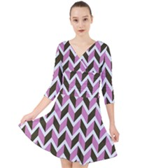 Zigzag Chevron Pattern Pink Brown Quarter Sleeve Front Wrap Dress