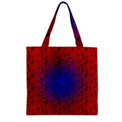Red Music Blue Moon Zipper Grocery Tote Bag