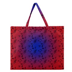 Red Music Blue Moon Zipper Large Tote Bag