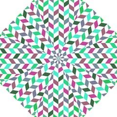 Zigzag Chevron Pattern Aqua Purple Folding Umbrellas