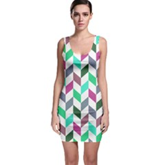 Zigzag Chevron Pattern Aqua Purple Bodycon Dress
