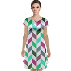 Zigzag Chevron Pattern Aqua Purple Cap Sleeve Nightdress