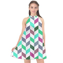 Zigzag Chevron Pattern Aqua Purple Halter Neckline Chiffon Dress