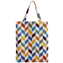 Zigzag Chevron Pattern Orange Blue Zipper Classic Tote Bag
