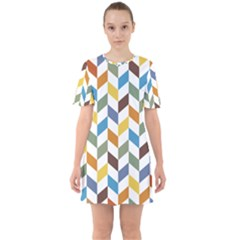Zigzag Chevron Pattern Orange Blue Sixties Short Sleeve Mini Dress