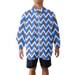 Zigzag Chevron Pattern Blue Grey Windbreaker (kids)