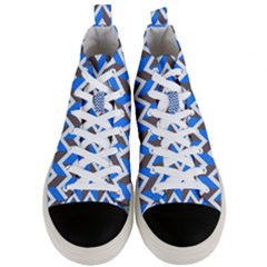 Zigzag Chevron Pattern Blue Grey Men s Mid Top Canvas Sneakers