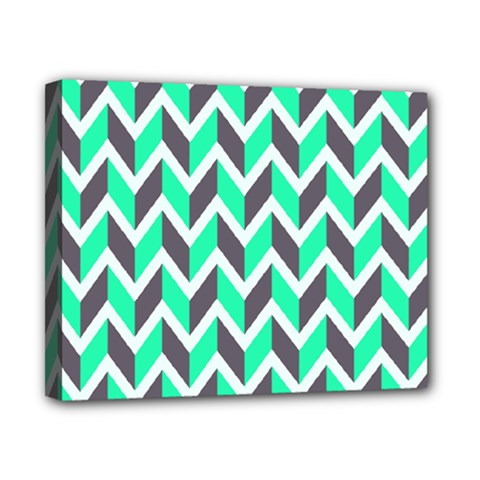 Zigzag Chevron Pattern Green Grey Canvas 10  X 8