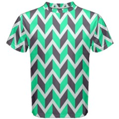 Zigzag Chevron Pattern Green Grey Men s Cotton Tee