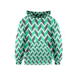 Zigzag Chevron Pattern Green Grey Kids  Pullover Hoodie