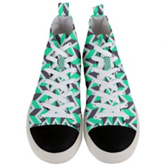 Zigzag Chevron Pattern Green Grey Men s Mid Top Canvas Sneakers