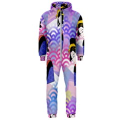 Japanese Abstract Blue Hooded Jumpsuit (men)