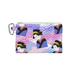 Japanese Abstract Blue Canvas Cosmetic Bag (small) by snowwhitegirl