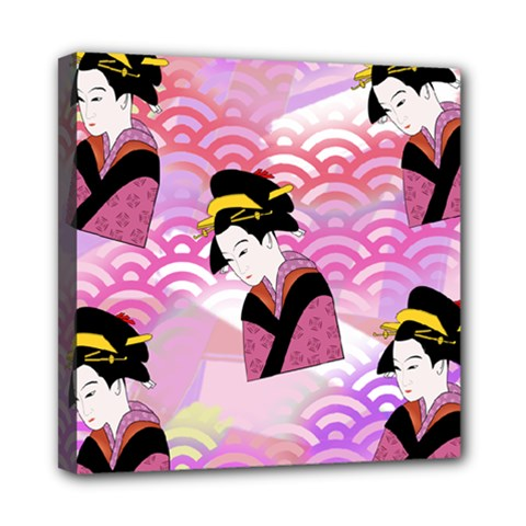Japanese Abstract Pink Mini Canvas 8  X 8