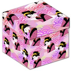 Japanese Abstract Pink Storage Stool 12