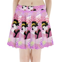 Japanese Abstract Pink Pleated Mini Skirt
