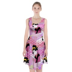 Japanese Abstract Pink Racerback Midi Dress