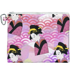 Japanese Abstract Pink Canvas Cosmetic Bag (xxxl) by snowwhitegirl