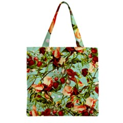 Fruit Blossom Zipper Grocery Tote Bag by snowwhitegirl