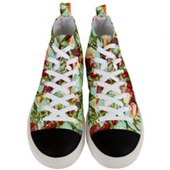 Fruit Blossom Men s Mid Top Canvas Sneakers