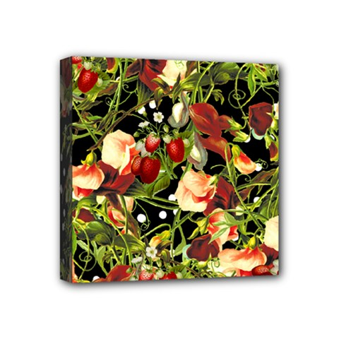 Fruit Blossom Black Mini Canvas 4  X 4