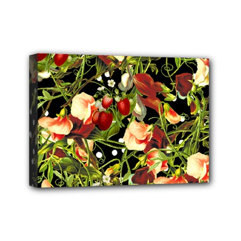 Fruit Blossom Black Mini Canvas 7  X 5  by snowwhitegirl