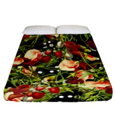 Fruit Blossom Black Fitted Sheet (california King Size)