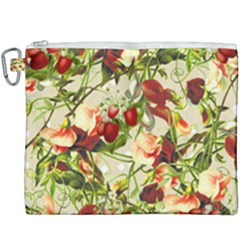 Fruit Blossom Beige Canvas Cosmetic Bag (xxxl)