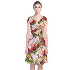 Fruit Blossom Pink Short Sleeve Front Wrap Dress