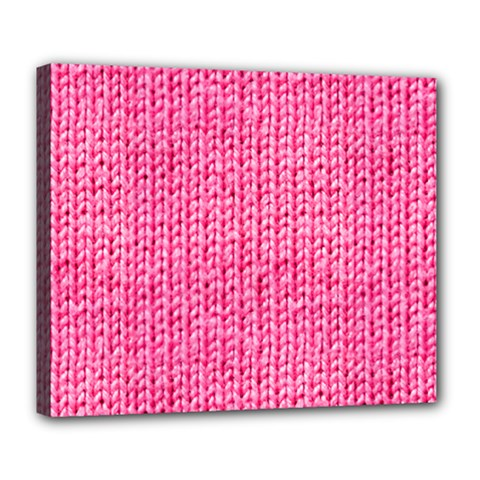 Knitted Wool Bright Pink Deluxe Canvas 24  X 20