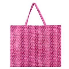 Knitted Wool Bright Pink Zipper Large Tote Bag