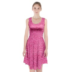 Knitted Wool Bright Pink Racerback Midi Dress