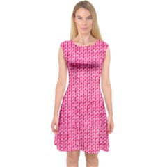 Knitted Wool Bright Pink Capsleeve Midi Dress