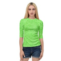 Knitted Wool Neon Green Quarter Sleeve Raglan Tee