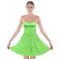 Knitted Wool Neon Green Strapless Bra Top Dress