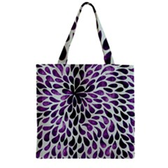 Purple Abstract Swirl Drops Zipper Grocery Tote Bag