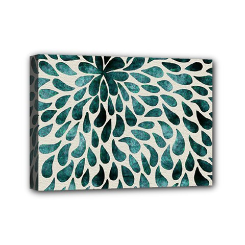 Teal Abstract Swirl Drops Mini Canvas 7  X 5  by snowwhitegirl
