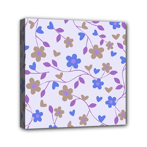 Blue Vintage Flowers Mini Canvas 6  X 6
