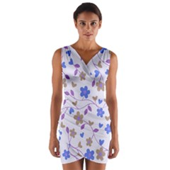 Blue Vintage Flowers Wrap Front Bodycon Dress