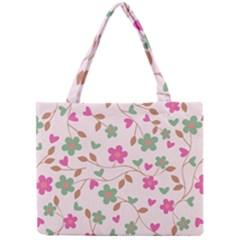 Pink Vintage Flowers Mini Tote Bag