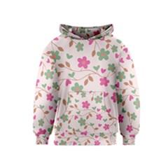 Pink Vintage Flowers Kids  Pullover Hoodie