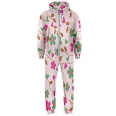 Pink Vintage Flowers Hooded Jumpsuit (men)